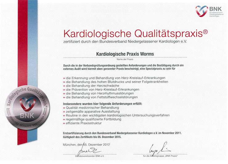 Kardiologische Qualitätspraxis - zertifiziert durch den Bundesverband Niedergelassener Kardiologen e.V.